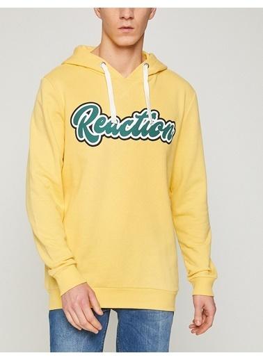Koton Baskılı Kapüşonlu Sweatshirt Sarı